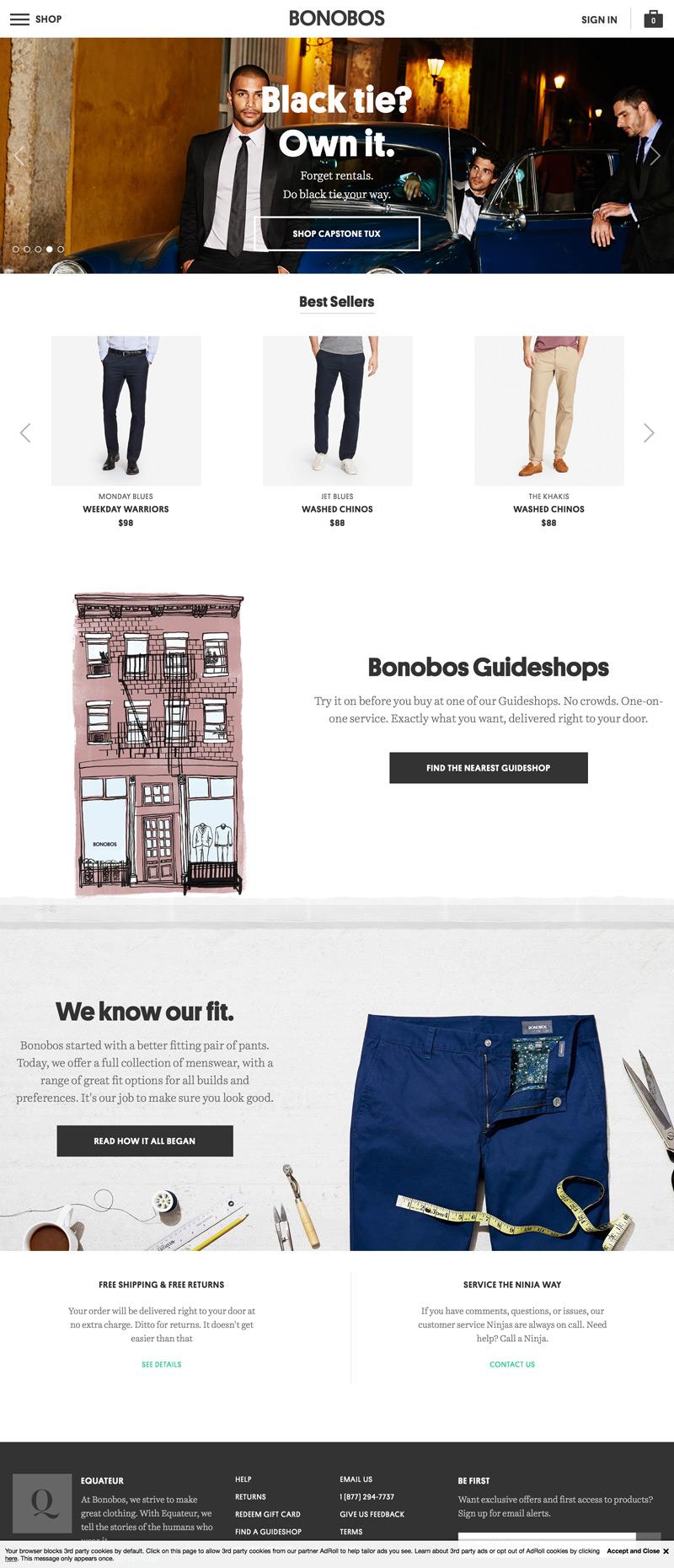 eCommerce website: Bonobos