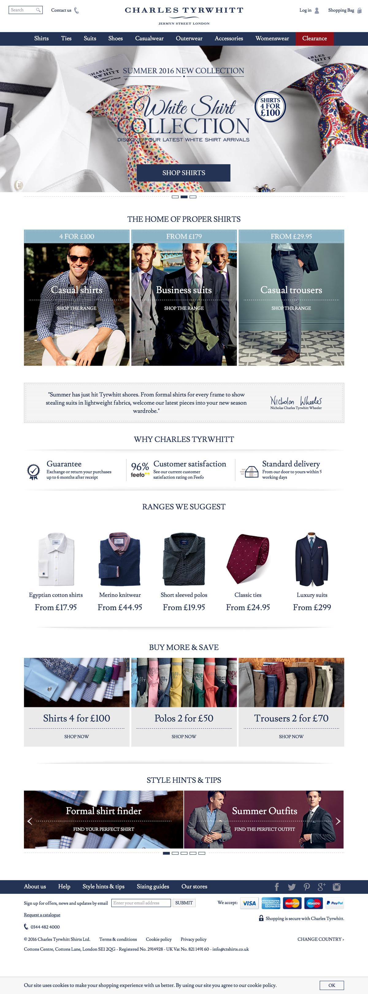 eCommerce website: Charles Tyrwhitt