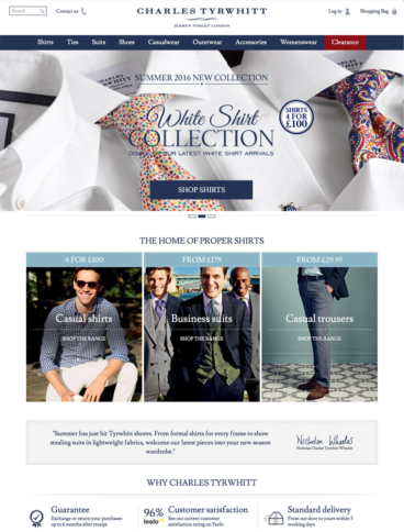 eCommerce website: Charles Tyrwhitt