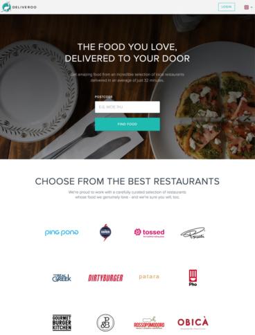 eCommerce website: Deliveroo