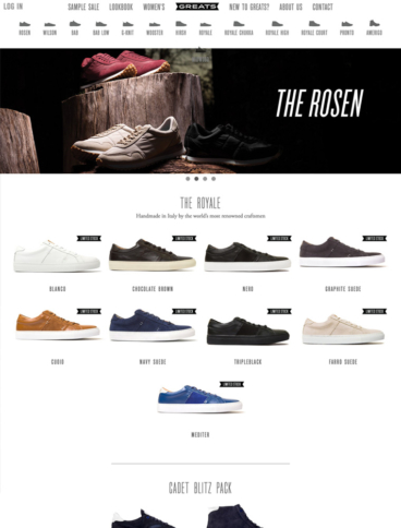 eCommerce website: Greats