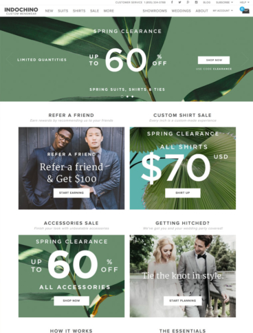 eCommerce website: Indochino