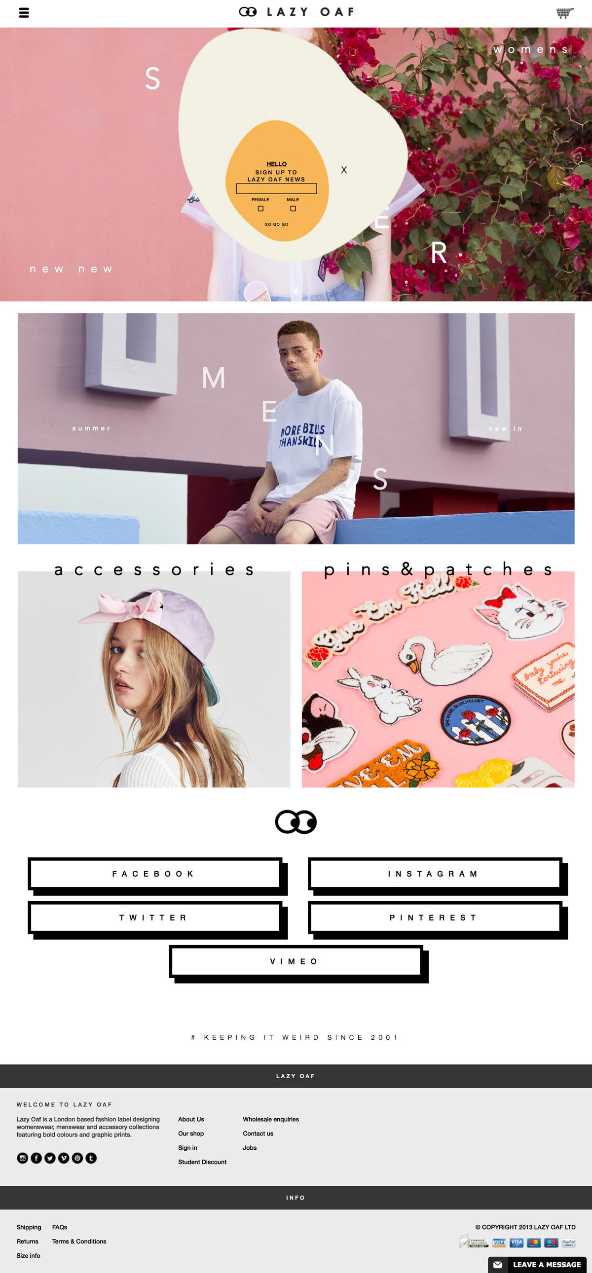 eCommerce website: Lazy Oaf