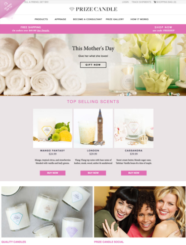 eCommerce website: Prize Candle