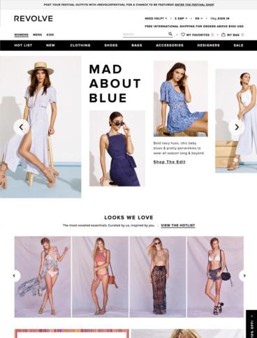 eCommerce website: Revolve