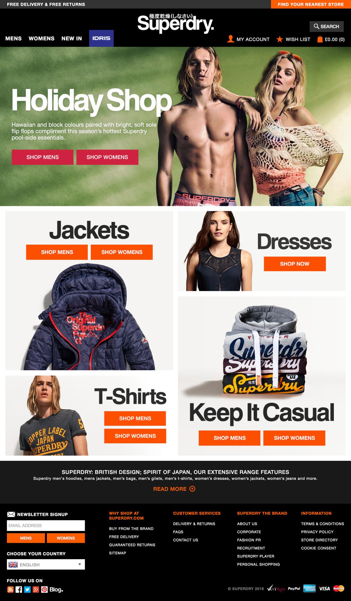eCommerce website: Superdry