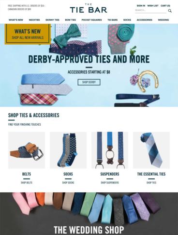 eCommerce website: The Tie Bar