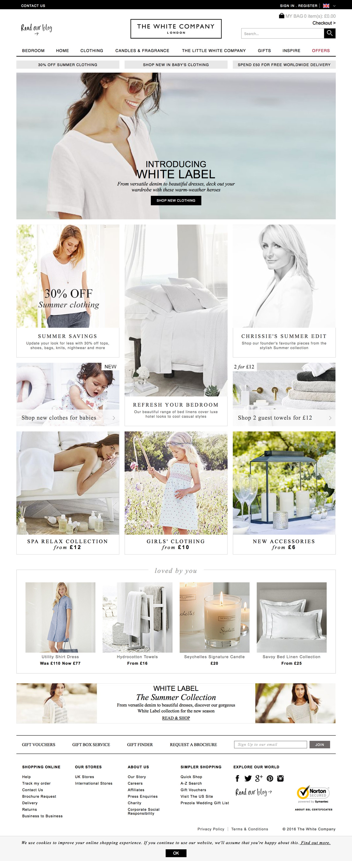 eCommerce website: The White Company