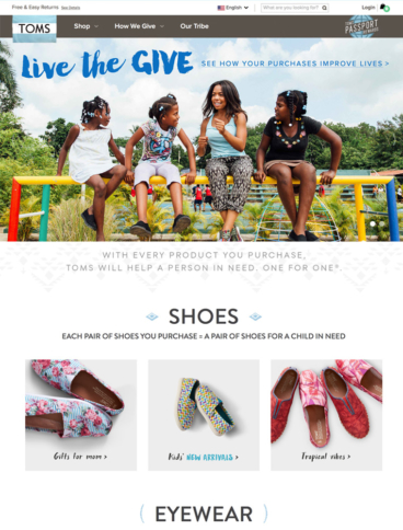 eCommerce website: Toms
