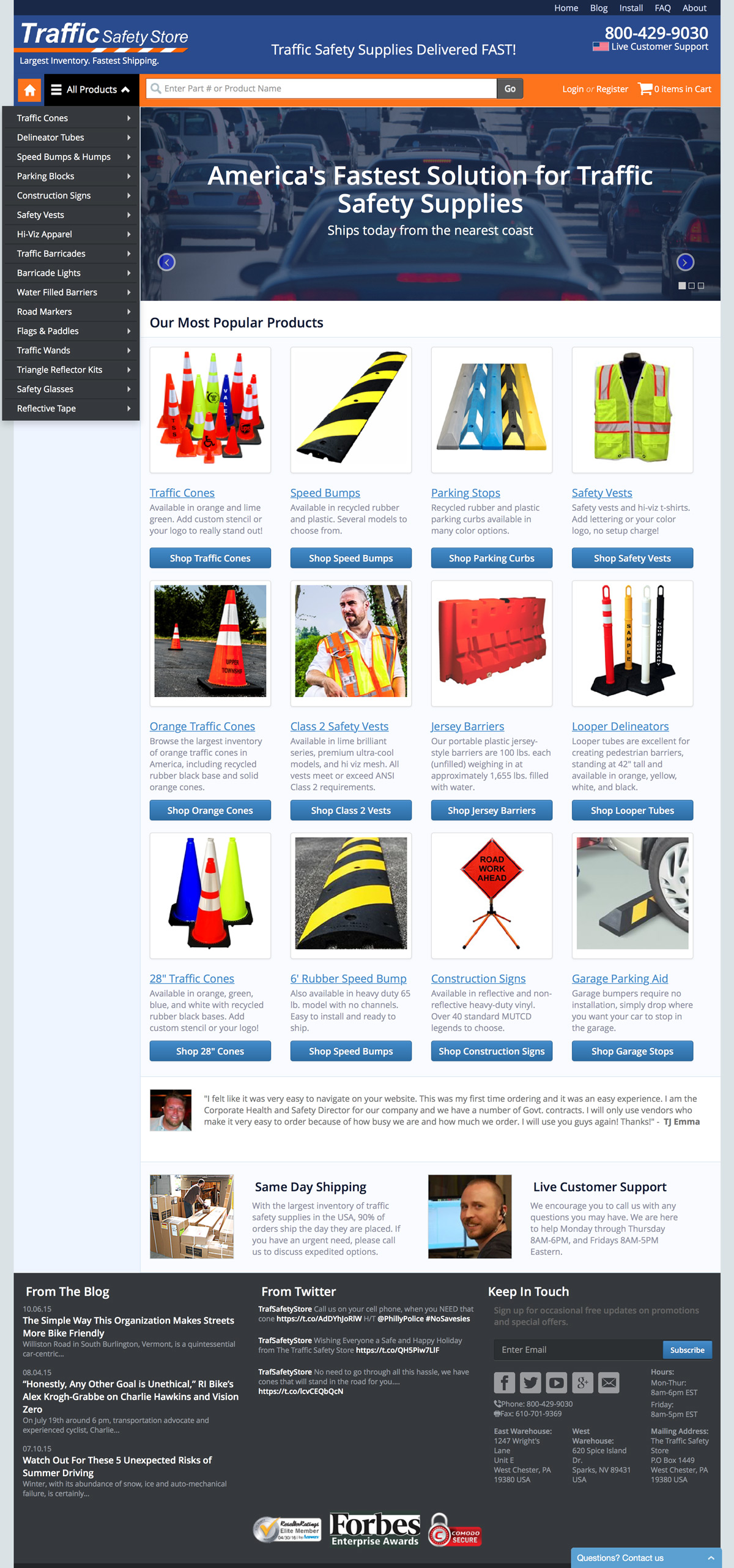 eCommerce website: Traffic Safety Store
