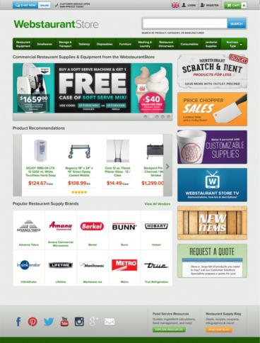 eCommerce website: Webstaurant Store