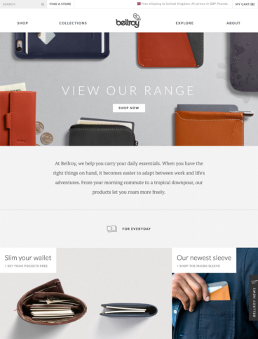 eCommerce website: Bellroy