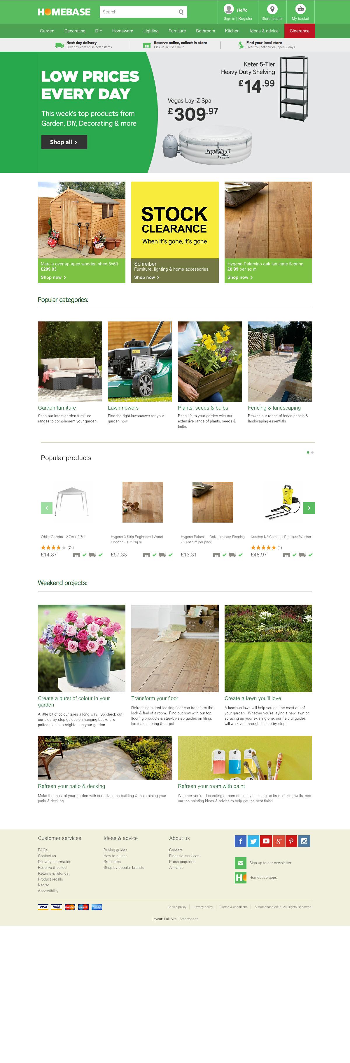 eCommerce website: Homebase