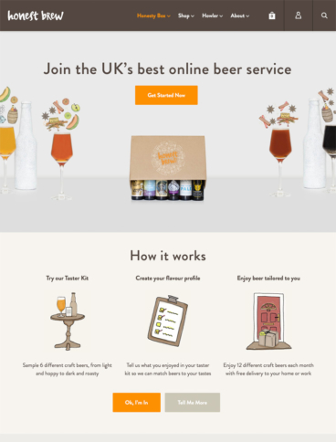 eCommerce website: Honest Brew