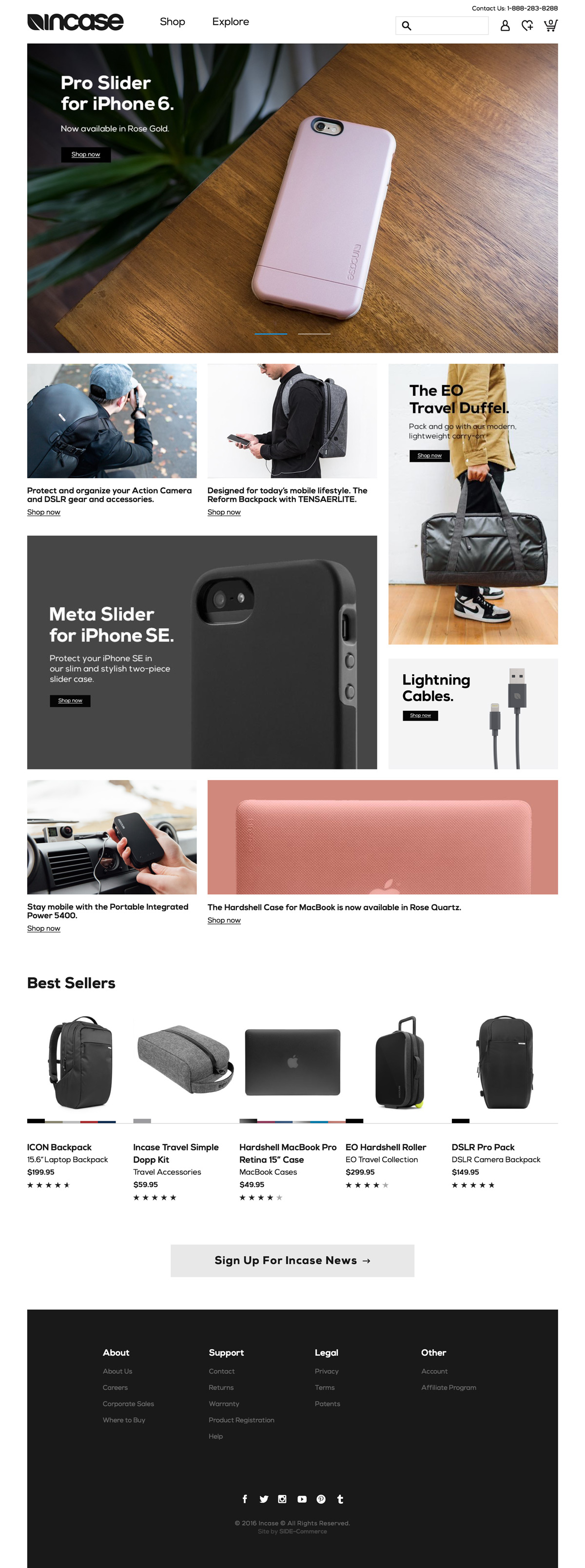 eCommerce website: Incase