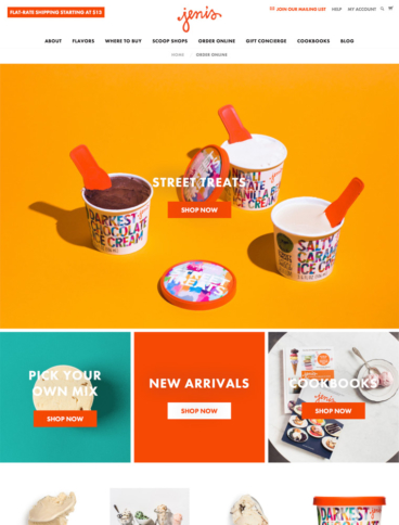 eCommerce website: Jeni's