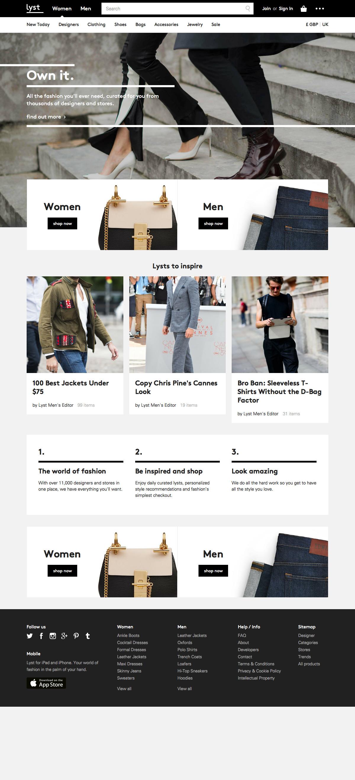 eCommerce website: Lyst