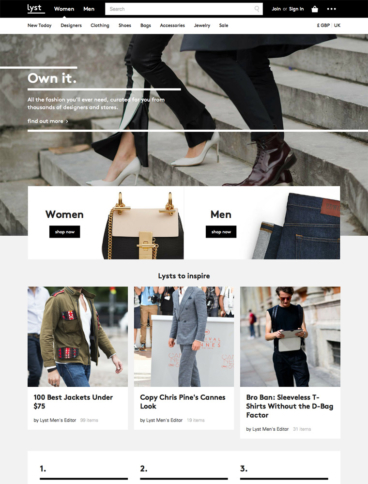 eCommerce website: Lyst