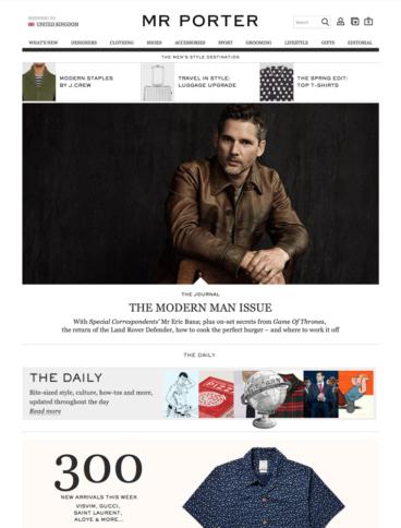 eCommerce website: Mr. Porter