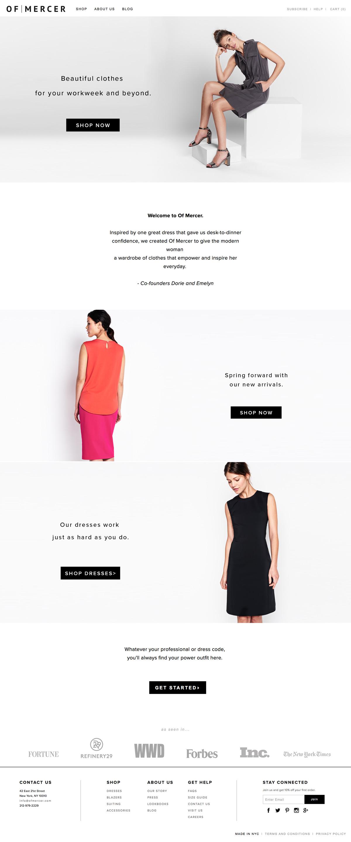 eCommerce website: Of Mercer