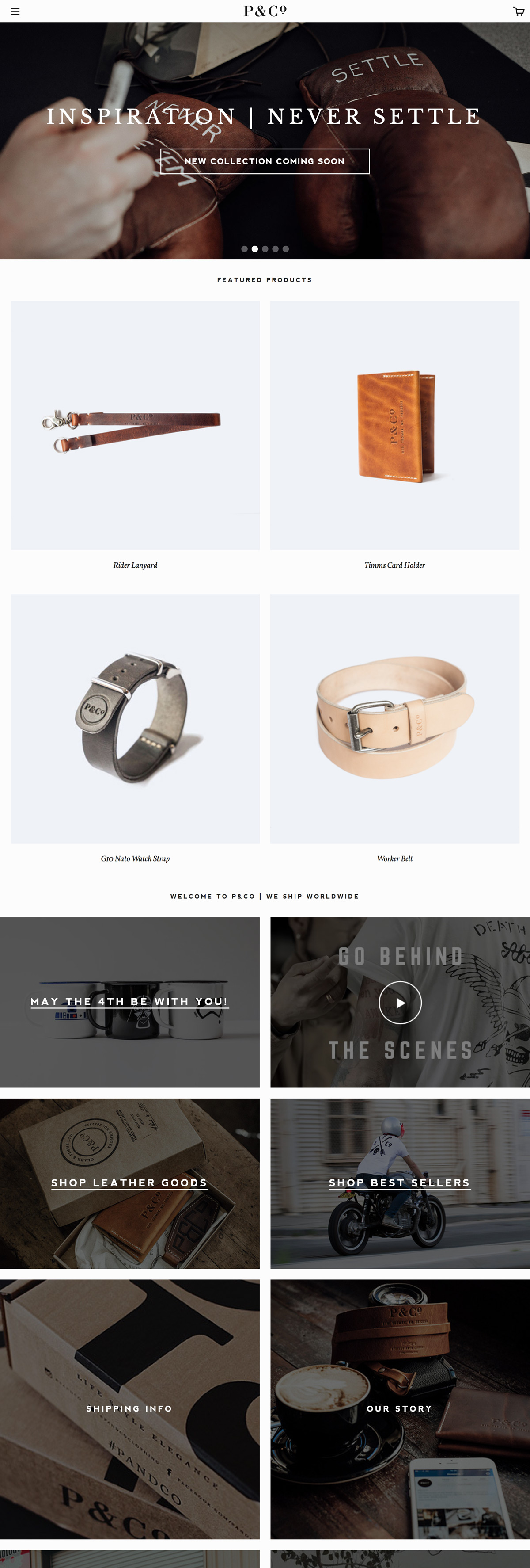 eCommerce website: P & Co.