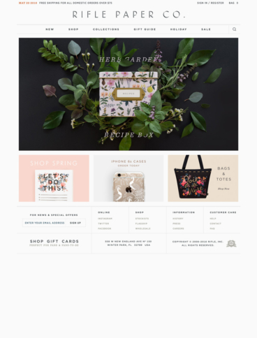 eCommerce website: Rifle Paper Co.