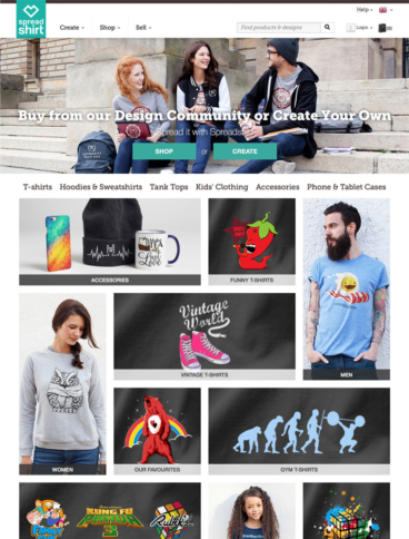 eCommerce website: Spreadshirt