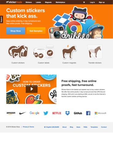 eCommerce website: Sticker Mule