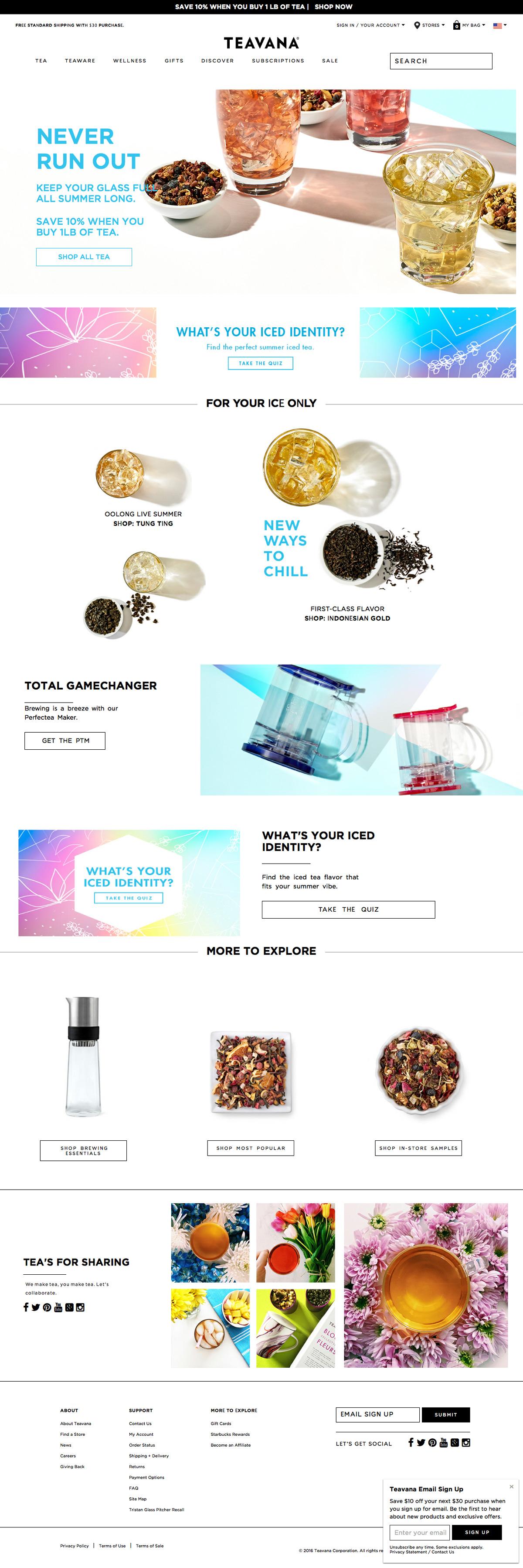 eCommerce website: Teavana