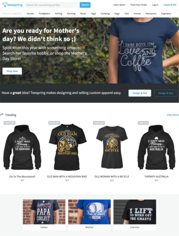 eCommerce website: Teespring