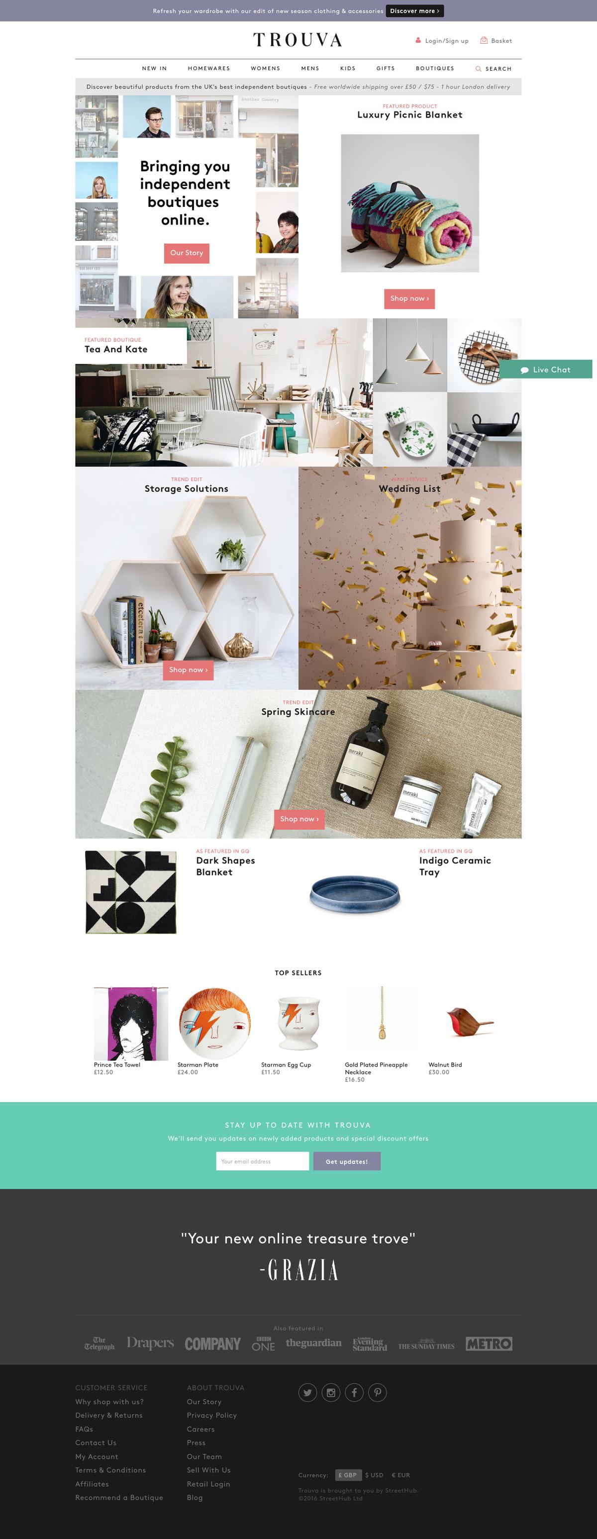 eCommerce website: Trouva