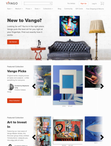eCommerce website: Vango Art