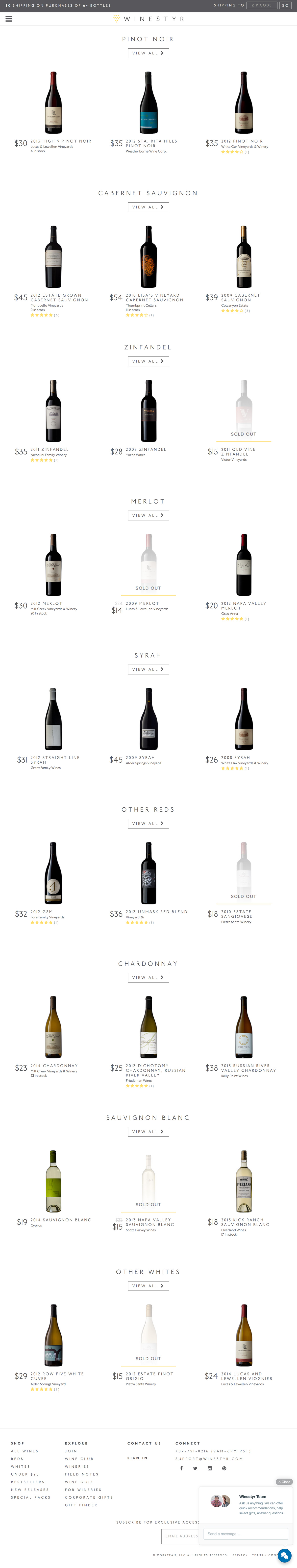 eCommerce website: Winestyr