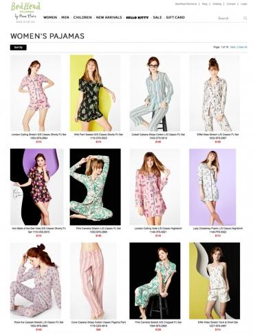 eCommerce website: BedHead Pajamas