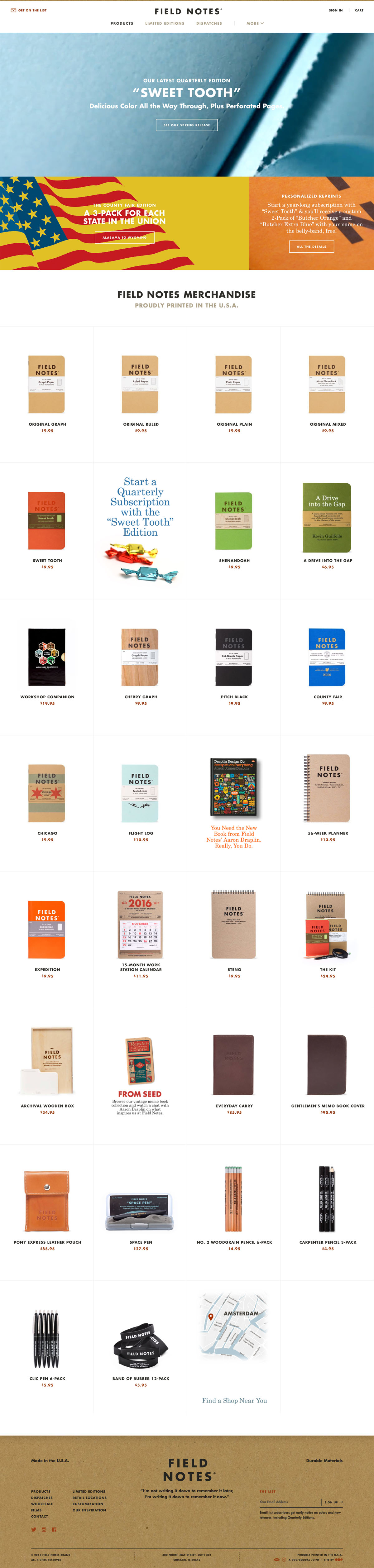 eCommerce website: Field Notes