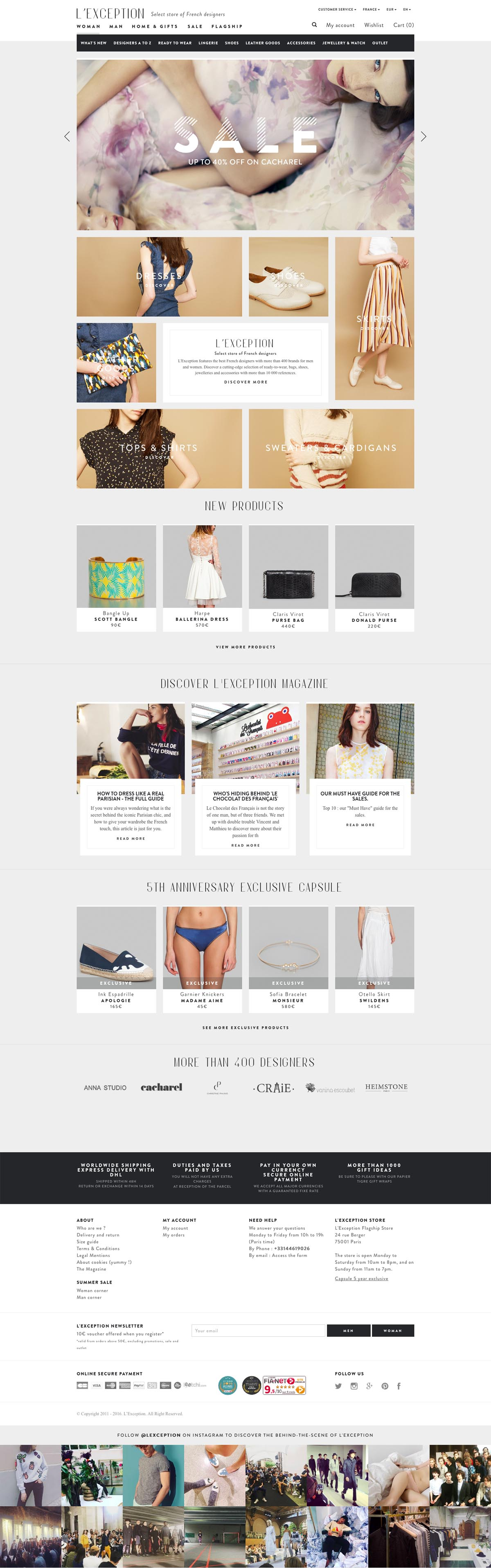 eCommerce website: L'Exception