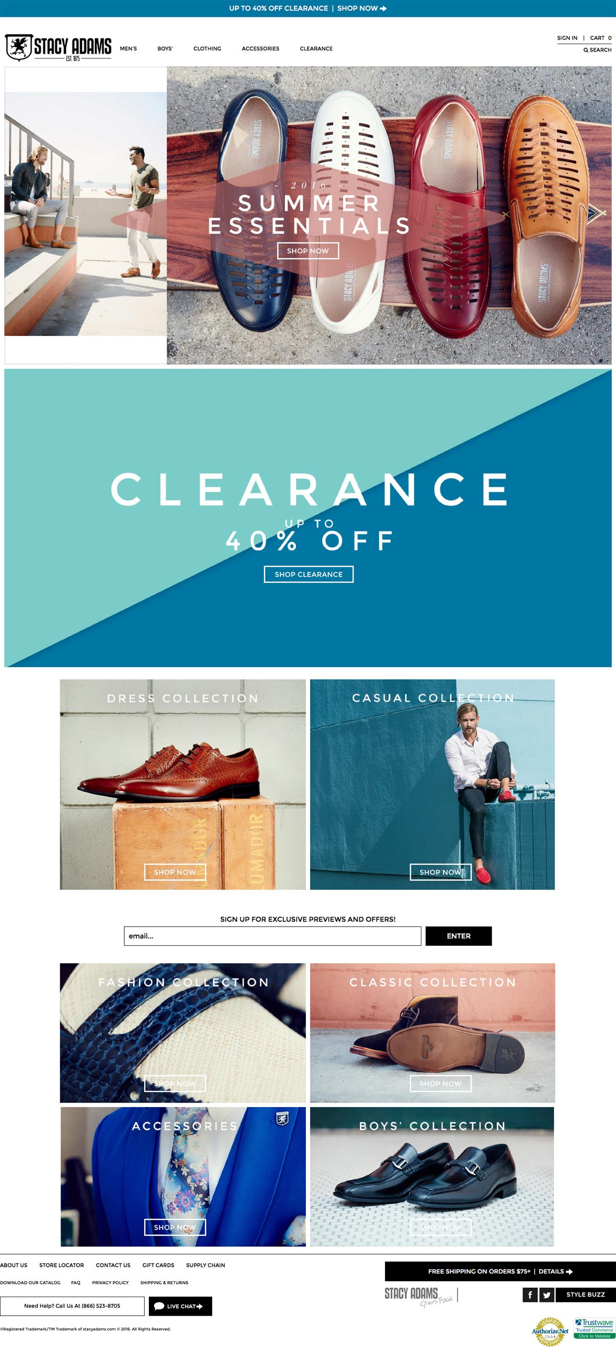 eCommerce website: Stacy Adams