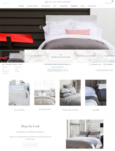 eCommerce website: Au Lit Fine Linens