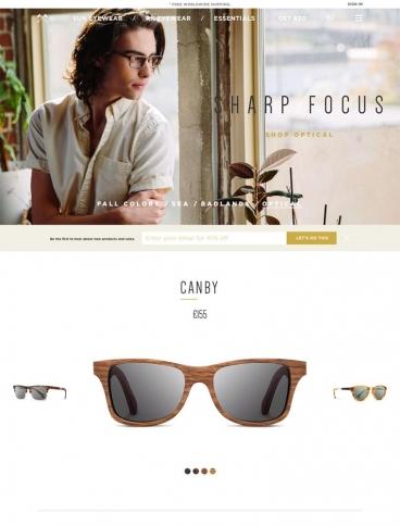eCommerce website: Shwood Eyewear