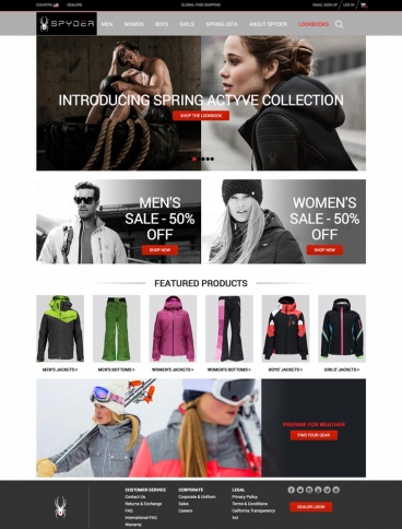 eCommerce website: Spyder Active Sports