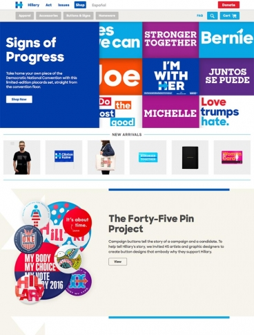 eCommerce website: The Shop – Hillary Clinton