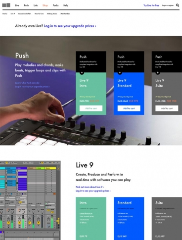 eCommerce website: Ableton