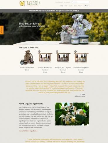 eCommerce website: Botanic Organic