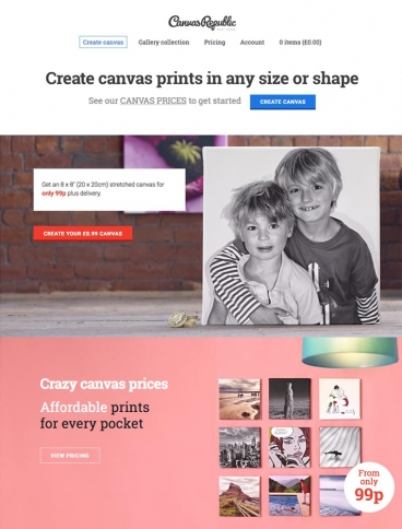 eCommerce website: Canvas Republic
