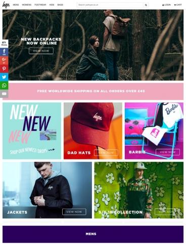 eCommerce website: HYPE