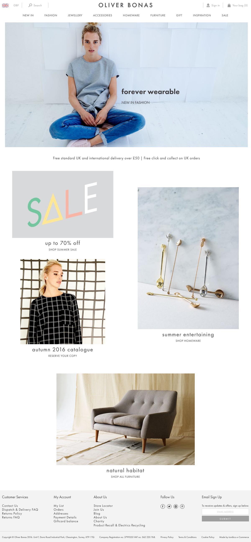 eCommerce website: Oliver Bonas
