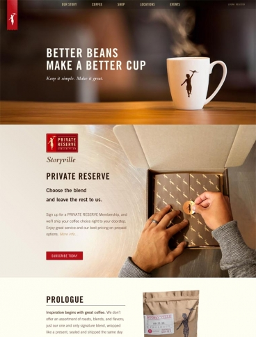 eCommerce website: Storyville Coffee Company