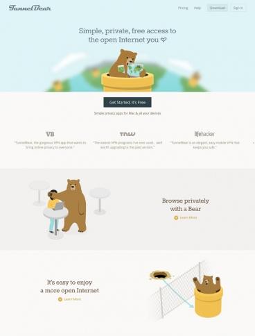 eCommerce website: TunnelBear