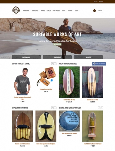 eCommerce website: Ventana Surfboards