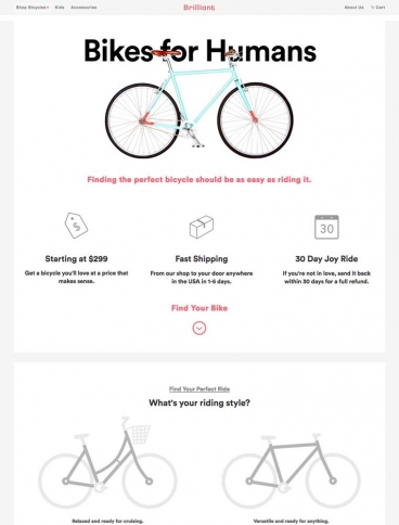 eCommerce website: Brilliant Bicycle Co